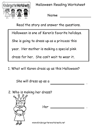 kindergarten halloween reading worksheet printable free