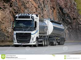 volvo highway tractor white volvo fh tank truck on highway with rock background