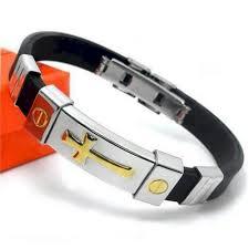 fashion bracelet silicone images Fashion men 39 s stainless steel cross id bracelet silicone bracelet gold jpg