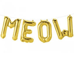 balloon letters meow gold foil balloon letters for dog party candle cake party