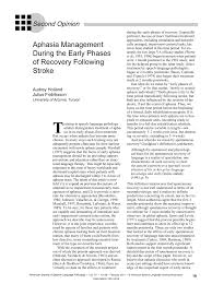 aphasia management during the early phases of recovery following