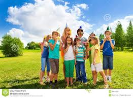 large group of kids on birthday party royalty free stock