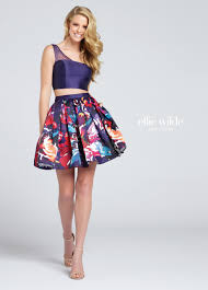 Formal Dresses With Pockets Two Piece Short Mikado Crop Top Prom Dress With Pockets Ew117006