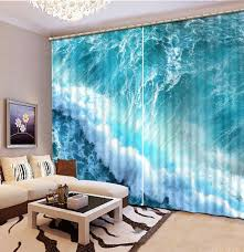 Teal Living Room Curtains Europe Style Beach Ocean 3d Window Curtains For Bedding Room