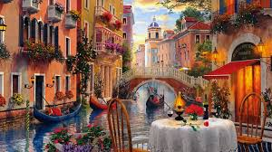 venice al fresca art landscape artwork wide screen cafe painting