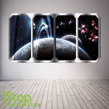 space wall stickers wall art kids spaceship window wall sticker