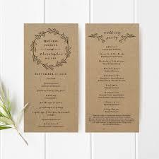 Beach Wedding Program Templates Printable Wedding Program Template Kraft Paper Ceremony Program