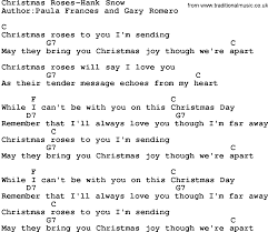 country music christmas roses hank snow lyrics and chords