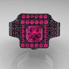 black and pink wedding ring sets masters 14k black gold 1 0 carat princess pink sapphire