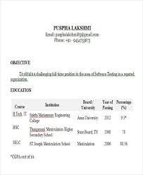 Sample Resume For Software Tester Fresher by Software Testing Resume Cv01 Billybullock Us
