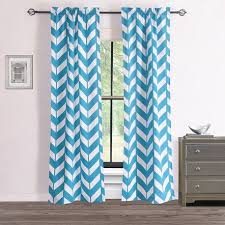 And White Curtains Rhf Chevron Curtains Polyester Cotton Teal And White Chevron