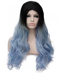 black at root of hair synthetic ombre black root light blue hair capless women wig