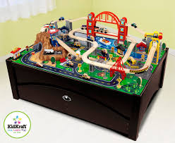 matchbox car play table amazon com kidkraft metropolis train table set toys games