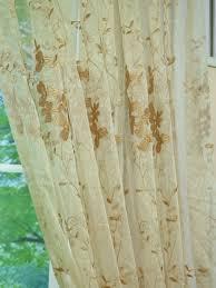 elbert vine leaves pattern embroidered back tab white sheer