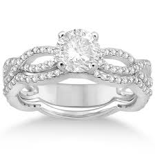 infinity engagement rings infinity diamond engagement ring with band 14k white gold 0 65ct