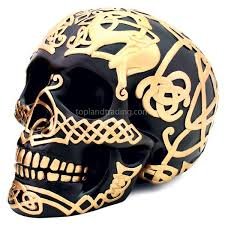 Celtic Skull - black celtic skull with gold celtic design home decor