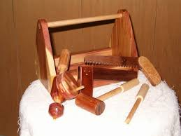 hand crafted kids wood tool boxes with tools by larkin woodworks