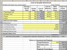 Excel Costing Template Cost Of Quality Template In Excel Qi Macros Add In