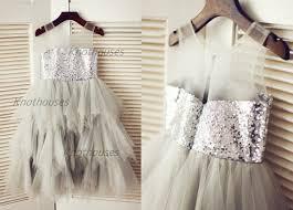 silver sequin gray tulle flower dress sheer illusion neckline