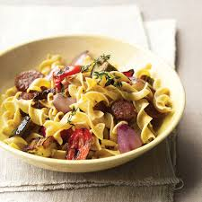 whole wheat pasta with chicken sausage and roasted veggies