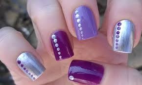 easy nail art designs 3 diy elegant silver violet u0026 purple