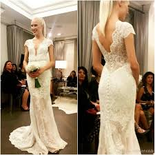 wedding reception dresses 2017 plunge wedding dresses lace cap sleeves v neck bridal