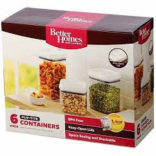 walmart kitchen canister sets better homes and gardens flip tite 6 storage set clear