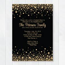Cocktail Party Invite - gold and black confetti cocktail party invitation welcome to the