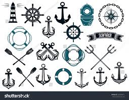 Nautical Themed Music - nautical themed design elements lighthouse stock vector