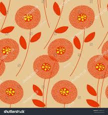 Midcentury Modern Wallpaper Retro Floral Seamless Pattern Midcentury Modern Stock Vector