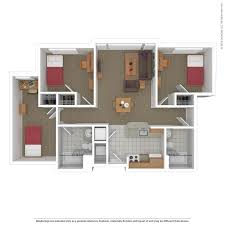 3 Bedroom Plan Floorplans Virtual Tour South Campus Commons