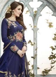 Buy Violet Embroidered Art Silk Celestial Art Silk Pink Embroidered Work Floor Length Anarkali Suit