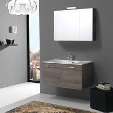 armadietto bagno con specchio moderno mobile per bagno 90cm rifinitura in legno scuro kv store