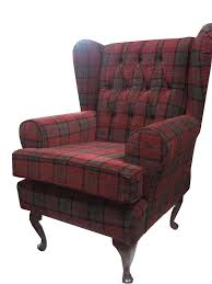 Queen Anne Armchair Button Back Red Tartan Fabric Queen Anne Design Wing Back Fireside