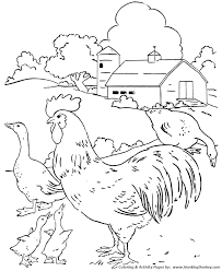Farm Scenes Coloring Page Farm Scene Chickens And Geese In The Farm Color Page