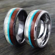 wood wedding band 8mm tungsten or ceramic men s deer antler turquoise wood wedding