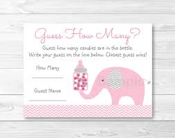 baby shower guessing pink elephant guess how many elephant baby shower