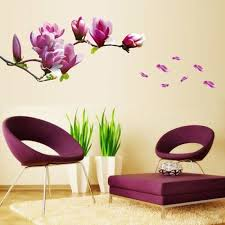 sticker mural chambre violet magnolia fleur stickers muraux chambre salon stickers muraux