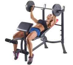 weider pro 265 standard bench bar and weightset page 1 u2014 qvc com