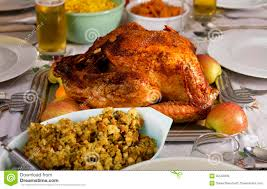 traditional thanksgiving day dinner royalty free stock