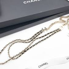 chain leather necklace images Chanel brand new gold chain leather long necklace with removable jpg