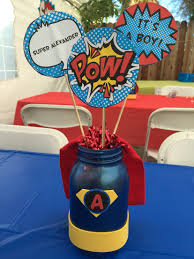 Baby Shower Centerpieces Ideas by Super Hero Centerpieces For My Sissy U0027s Baby Shower So Easy To Diy