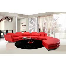 divani casa a94 contemporary leather sectional sofa u0026 ottoman