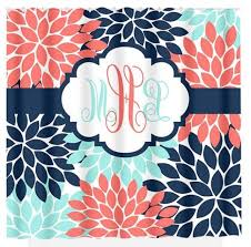 Navy And Coral Shower Curtain Navy Coral Aqua Floral Shower Curtain Flowers Custom Monogram In
