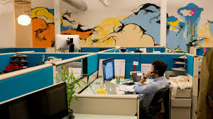 Office Wall Decorating Ideas For Work Office U0026 Workspace Cool Office And Private Design Feature Blue