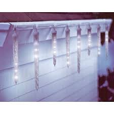 set of 10 clear led icicle lights white wire