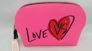 love vs victoria u0027s secret pink zip makeup cosmetic bag case pouch