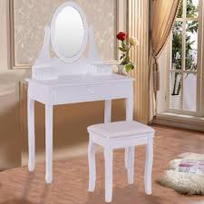 goplus white vanity wooden makeup dressing table stool set