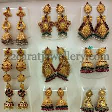 gold jhumka earrings design with price temple jhumkas collection jewellery designs