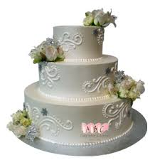 3 Tier Wedding Cake 2222 3 Tier Round Wedding Cake With Roses Abc Cake Shop U0026 Bakery